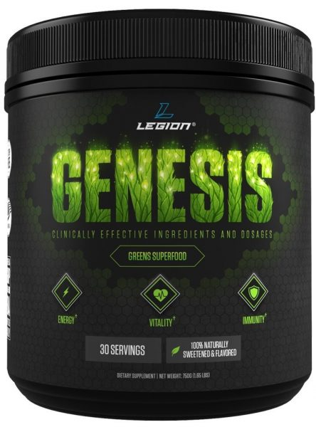 Legion Genesis Green Superfood Powder - With Spirulina, Dandelion, Moringa Oleifera, Maca Powder, Astragalus Root and Reishi Mushroom. All Natural Immune System