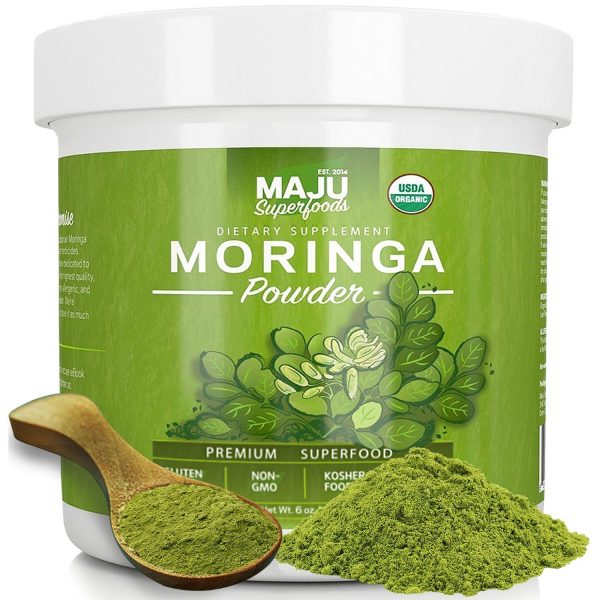 Maju Organic Moringa Powder NON-GMO, Guaranteed Purest, 100% Raw Moringa