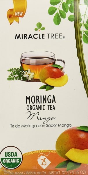 Miracle Tree - Organic Moringa Superfood Tea, 25 Individually Sealed Tea Bags, Mango