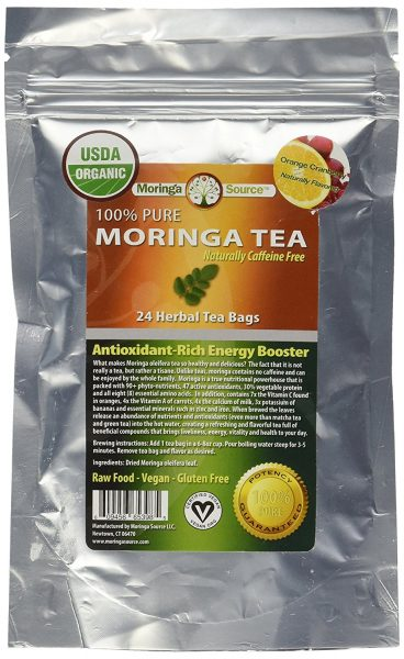 Moringa Tea - Orange Cranberry - USDA Organic - 30 Potent Tea Bags - Antioxidant Rich Energy Booster