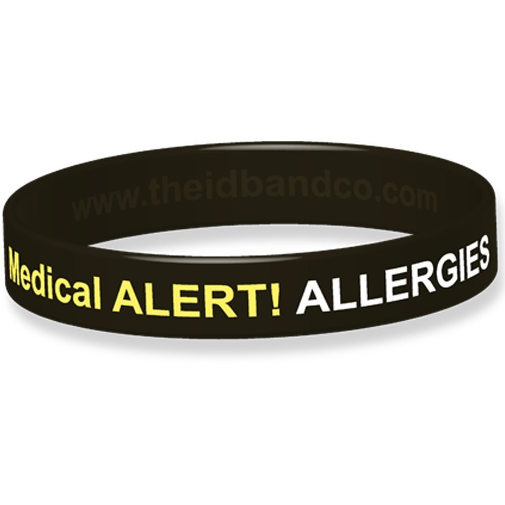 Allergy Alert! Use EpiPen Silicone Wristband 18 Cm Black