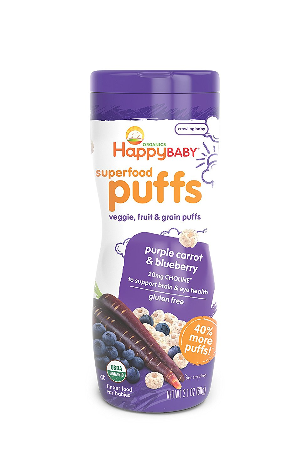 Happy Baby Organic Superfood Puffs, Purple Carrot & Blueberry, 6x2.1 Ounce