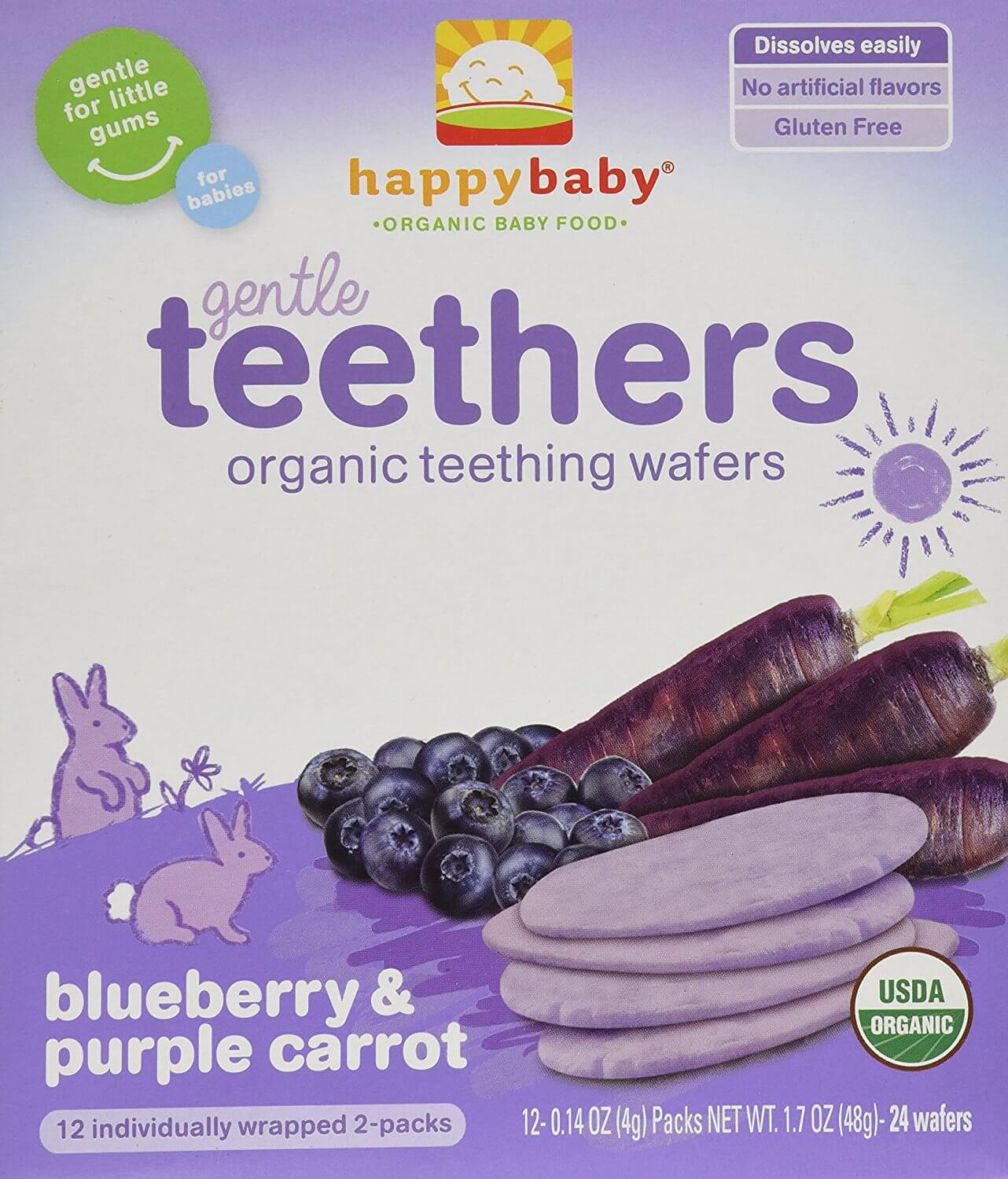 Happy Family Teething Wafers - Blueberry & Purple Carrot