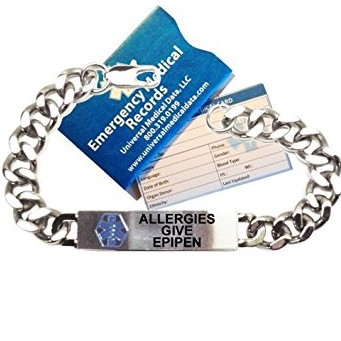 Pre-engraved Allergies Give EPIPEN Traditional Stainless Steel Medical ID Bracelets For Men by Universal Medical Data